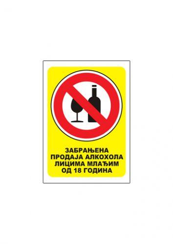 Nalepnica ZABRANJENA PRODAJA ALKOHOLA LICIMA MLAĐIM OD 18g A7